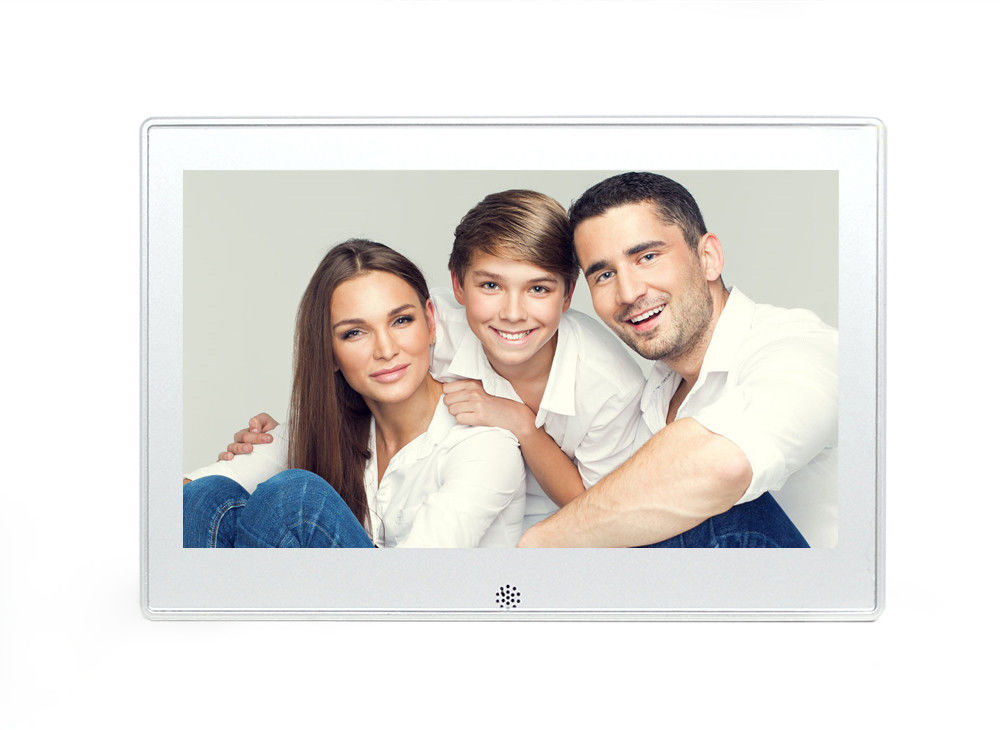 white 101 inch metal battery operated digital photo frame supports video loop play